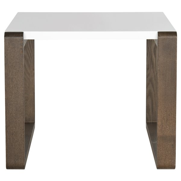 Safavieh Bartholomew Rectangular White Lacquer End Table with Dark Brown Finish