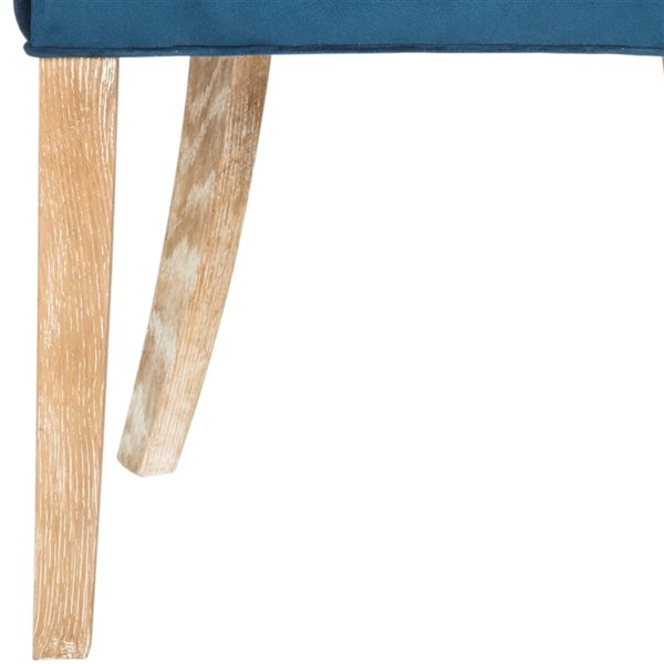 Safavieh Lester 19-in H Dining Chair  - Navy Seat and White Finish (Set Of 2)