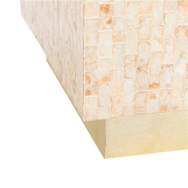 Safavieh Juno Rect Mosaic Side Table in Multiple Shades of Soft Beige and Gold