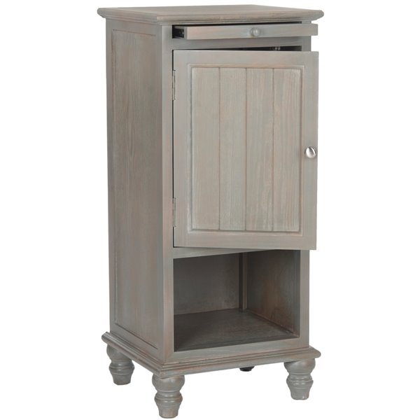 Safavieh Jezabe  Grey Wood  End Table with Pullout Shelf and Cabinet