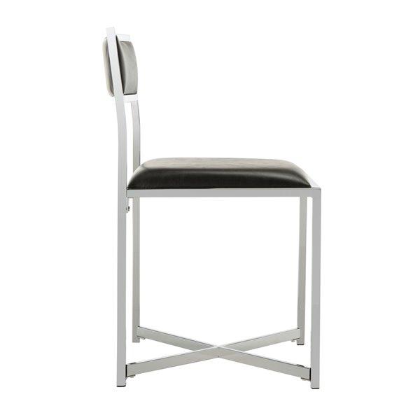 Safavieh Menken Chrome Side Chair - Black/Chrome (Set of 2)
