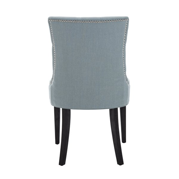 Safavieh Abby 19-in H Side Chair  with Silver Nail Heads - Sky Blue Seat and Rustic Black Finish (Set Of 2)