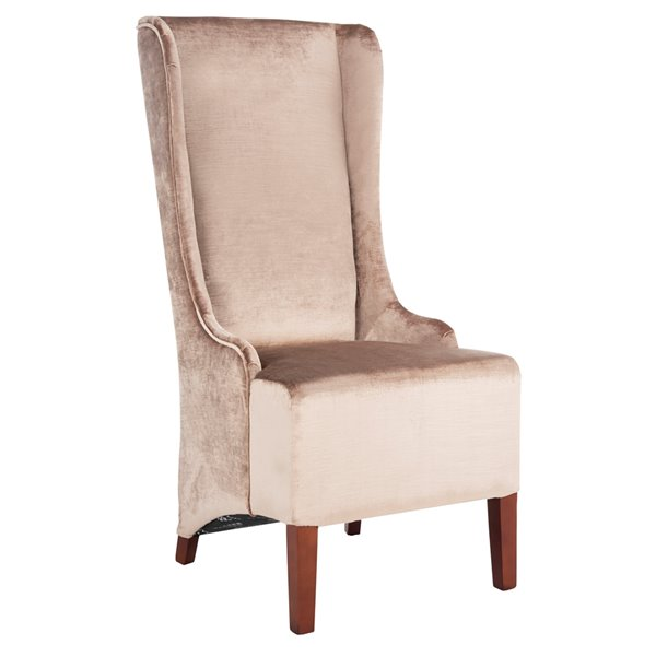 Safavieh Becall 20-in H Velvet Dining Chair  - Dark Champagne Seat and Cherry Finish