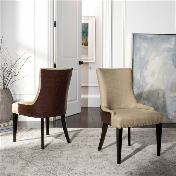 Safavieh Becca 19-in H Fabric And Leather Dining Chair  - Antique Gold Seat and Espresso Finish