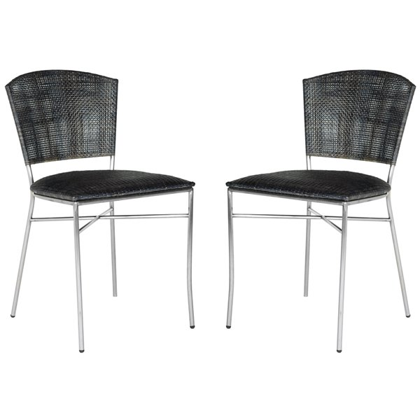 Safavieh Melita 18-in H Rattan Side Chair  - Stainless Steel Seat and Finish (Set Of 2)