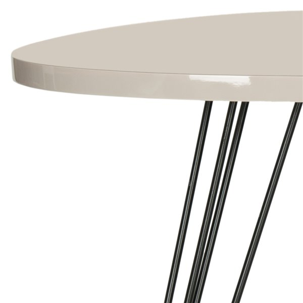 Safavieh Wolcott Side Table with Taupe Lacquer Top and Black Iron Legs