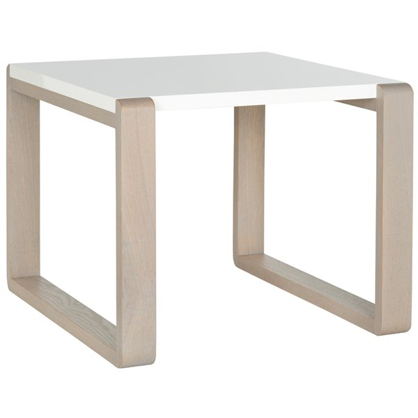 Safavieh Bartholomew Rectangular White Lacquer End Table with Grey-Wash Finish