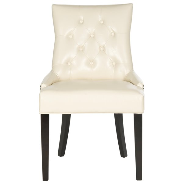 Safavieh Harlow 19-in H Tufted Ring Chair  - Flat Cream Seat and Rustic Black Finish (Set Of 2)
