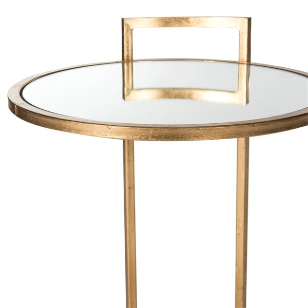 Safavieh Calvin Round Glass and Antique Gold Finish End Table