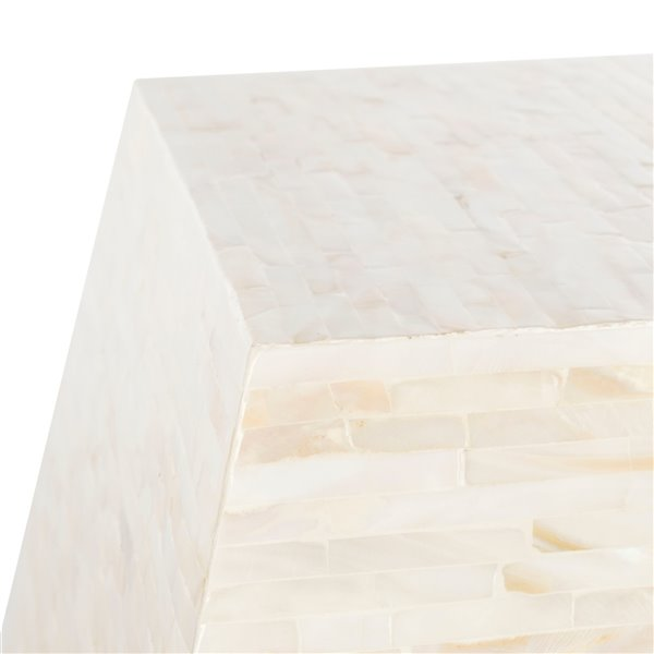 Safavieh Lea Mosaic Geometric Side Table in Multiple Shades of Light Beige