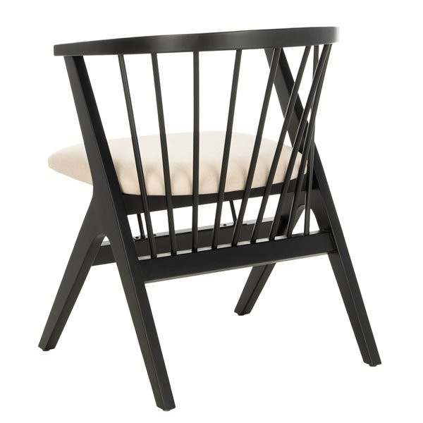 Safavieh Noah Spindle Dining Chair  - Beige Seat and Black Finish (Set Of 2)