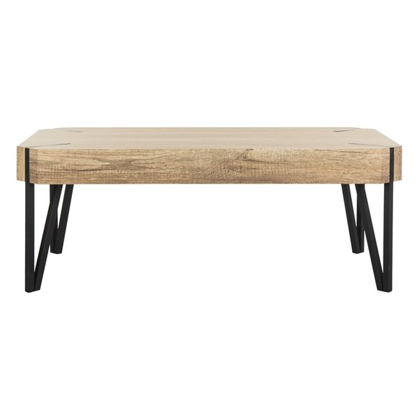 Safavieh Liann Rustic Midcentury Wood Top Rectangular Coffee Table - Natural