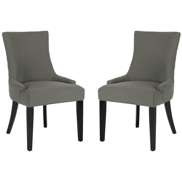 Safavieh Lester 19-in H Dining Chair  - Granite Seat and Rustic Black Finish (Set Of 2)
