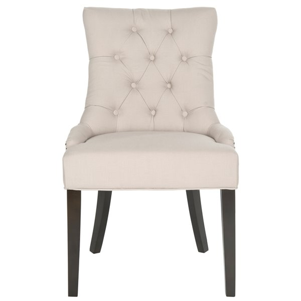 Safavieh Harlow 19-in H Tufted Ring Chair  - Taupe Seat and Rustic Black Finish (Set Of 2)