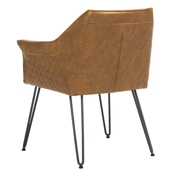 Safavieh Esme 19-in H Mid Century Modern Leather Dining Chair  - Light Brown Seat and Black Finish (Set Of 2)