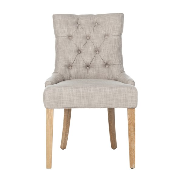 Safavieh Abby 19-in H Tufted Side Chair with Brass Nail Heads - Grey Seat and White Finish (Set Of 2)