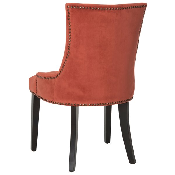 Safavieh Lester 19-in H Dining Chair  with Brass Nail Heads - Rust Seat and Rustic Black Finish (Set Of 2)