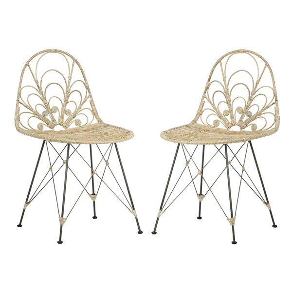 Safavieh Madeline Rattan Dining Chair  - Dark Steel Seat and Dark Steel Finish (Set Of 2)