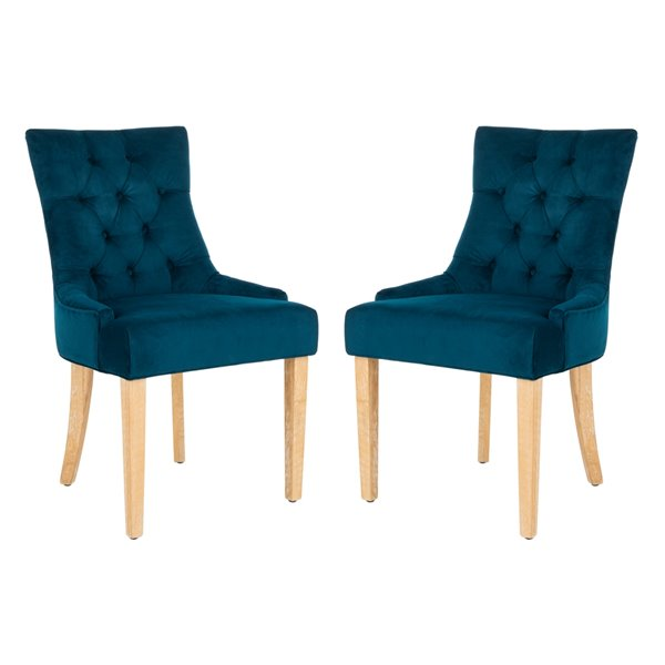 Safavieh Abby 19-in H Tufted Side Chair  - Navy Seat and White Wash Finish (Set Of 2)