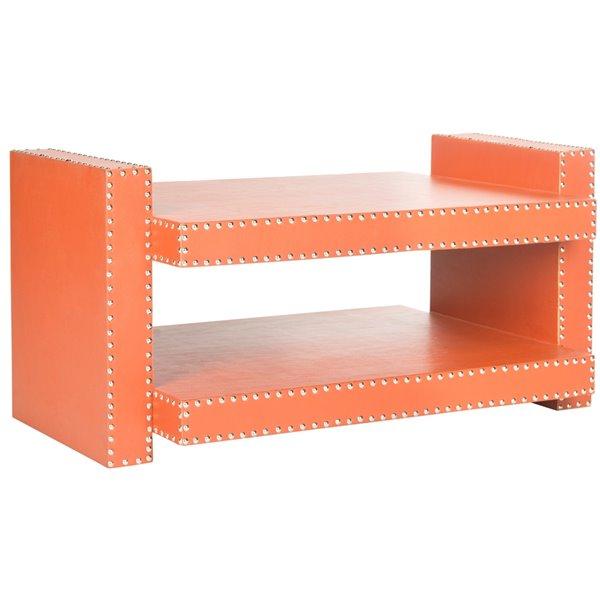 Safavieh Garson Rectangular Faux Leather Orange Accent Table
