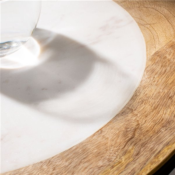 Safavieh Lumi White Agate and Wood Accent Table