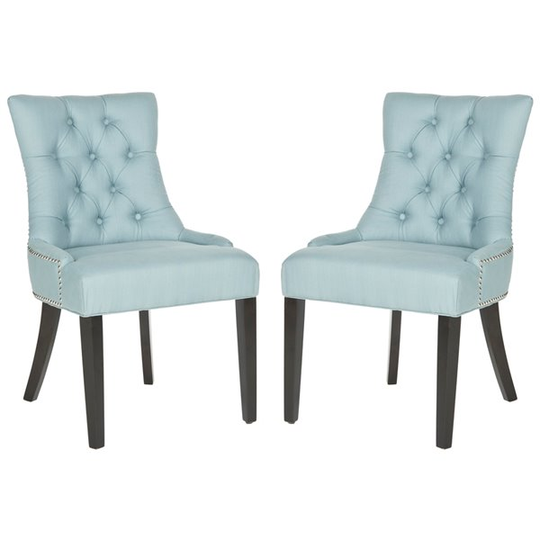 Safavieh Harlow 19-in H Tufted Ring Chair  - Light Bleu Seat and Rustic Black Finish (Set Of 2)
