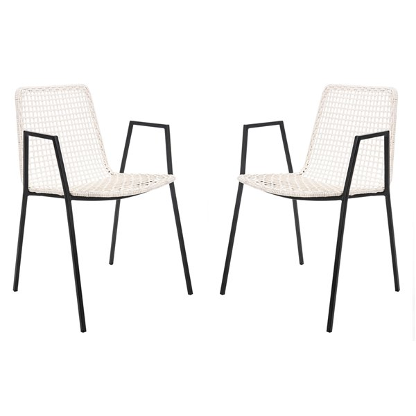 Safavieh Wynona Leather Woven Dining Chair  - White Seat and Black Finish (Set Of 2)