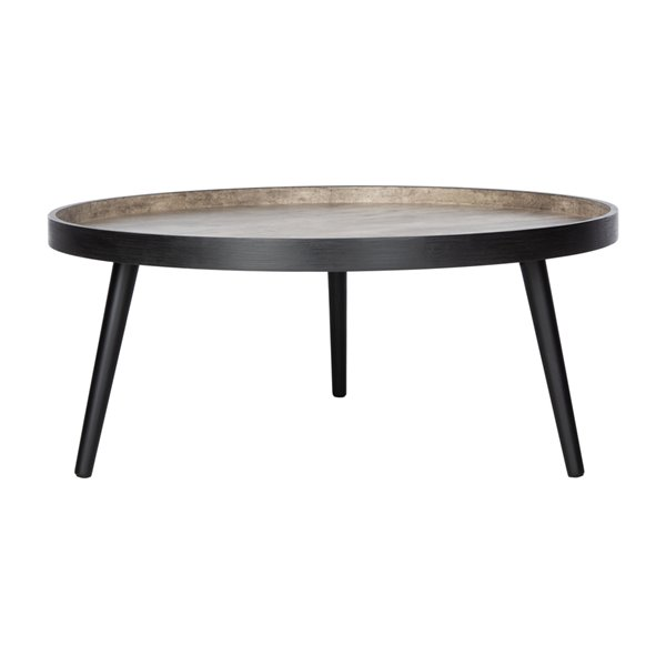 Safavieh Fritz Light Grey and Black Wood Round Tray Top Coffee Table - 35.4-in Diameter