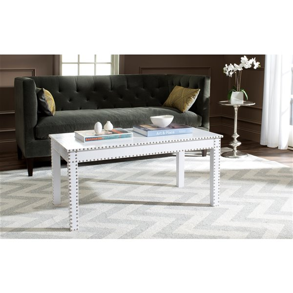 Safavieh Crispis White Faux Croc Rectangular Coffee Table