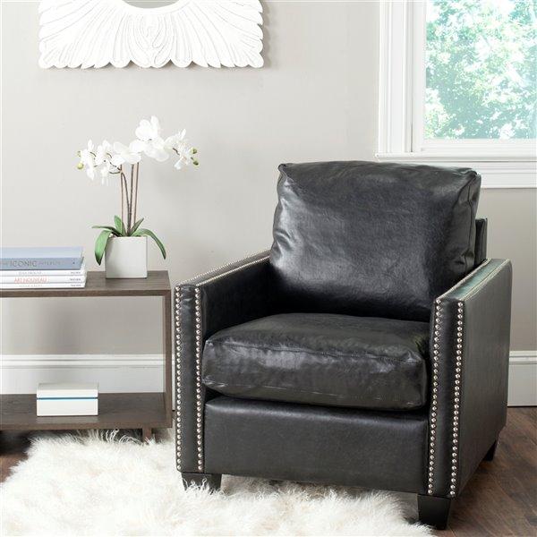 Safavieh Horace Faux Leather Club Chair - Antique Black