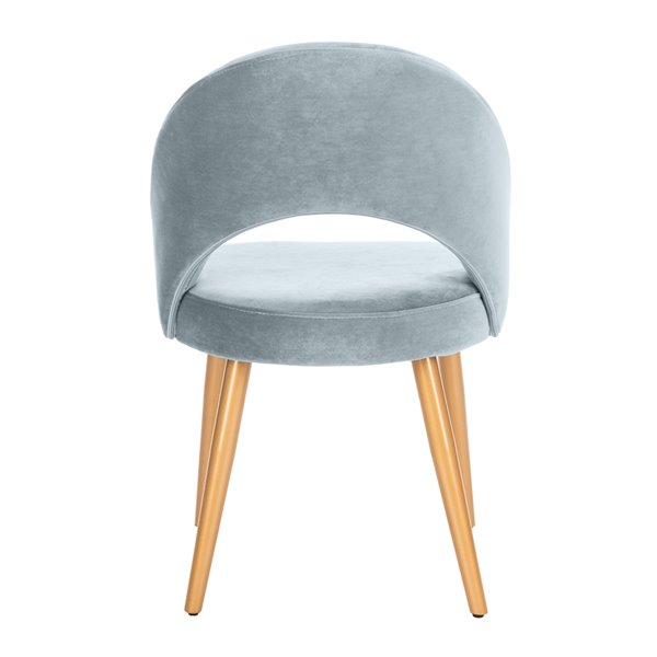 Safavieh Giani Retro Dining Chair  - Slate Blue Seat and Gold Finish (Set Of 2)
