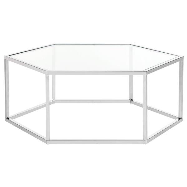 Safavieh Eliana Hexagon Glass Coffee Table with 6 Chrome Finished Legs