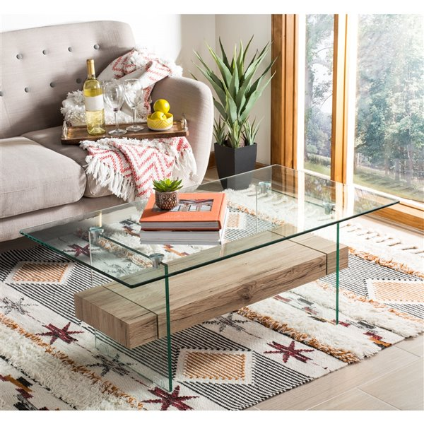 Safavieh Kayley Glass Rectangular Modern  Coffee Table