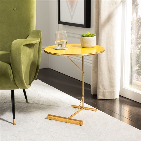 Safavieh Sionne Round C Table with  Yellow Top and Gold Finished Base