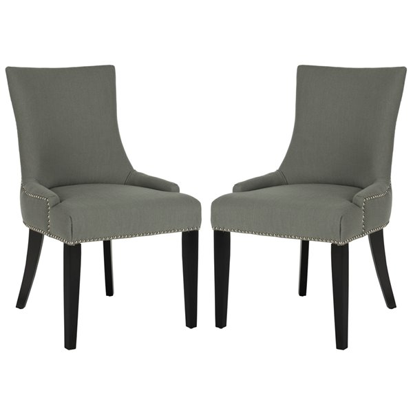 Safavieh Lester 19-in H Dining Chair  with Silver Nail Heads - True Taupe Seat and Rustic Black Finish (Set Of 2)