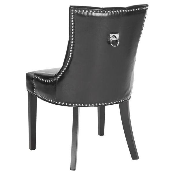 Safavieh Harlow 19-in H Tufted Ring Chair  - Black Seat and Rustic Black Finish (Set Of 2)