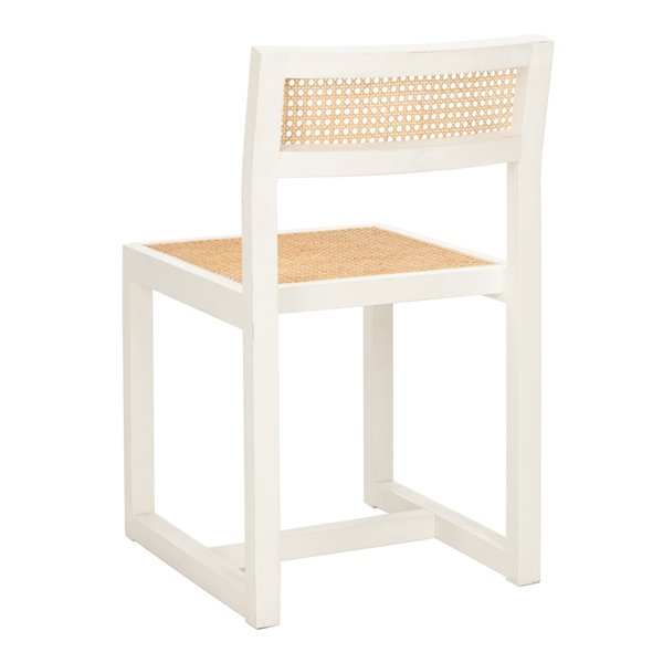 Safavieh Bernice Cane Dining Chair  - White Seat and White Finish