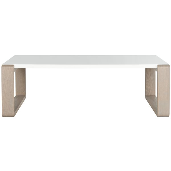 Safavieh Bartholomew Midcentury Rectangular Scandinavian Lacquer Coffee Table - White/Grey