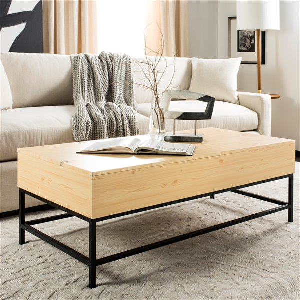 Safavieh Gina Contemporary Lift-Top Rectangular Coffee Table - Light Oak Finish