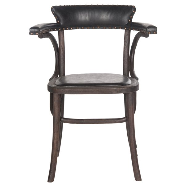 Safavieh Kenny 19-in High Wood and Faux Leather Arm Chair - Black/Dark Umber