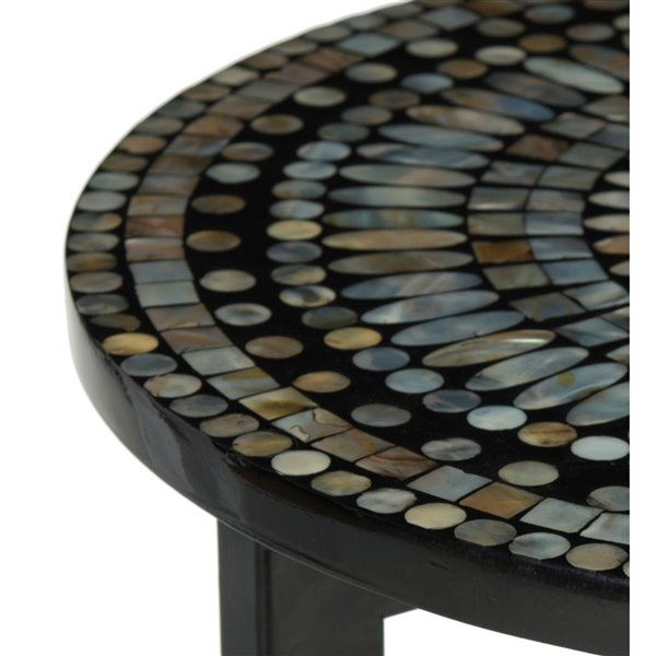 Safavieh Zaira Grey Lacquer Mosaic Table Top End Table with Black Metal Base
