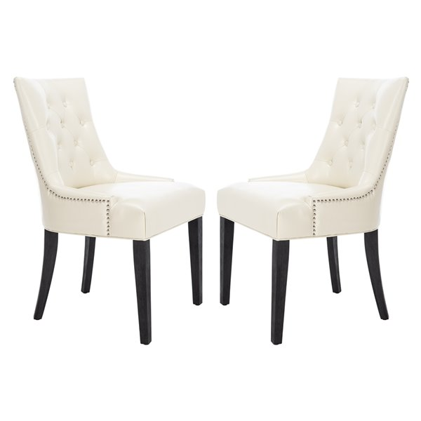Safavieh Abby 19-in H Tufted Side Chair  with Silver Nail Heads - Flat Cream Seat and Rustic Black Finish (Set Of 2)