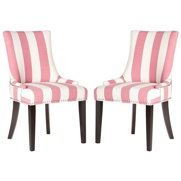 Safavieh Lester 19-in H Awning Stripes Dining Chair  with Silver Nail Heads - Pink/White Seat and Rustic Black Finish (Set Of 2)