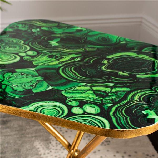 Safavieh Zamara Faux Agate Side Table - Malachite Table Top with Gold Finish