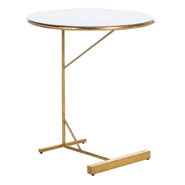 Safavieh Sionne Round C Table with White Top and Gold Finished Base
