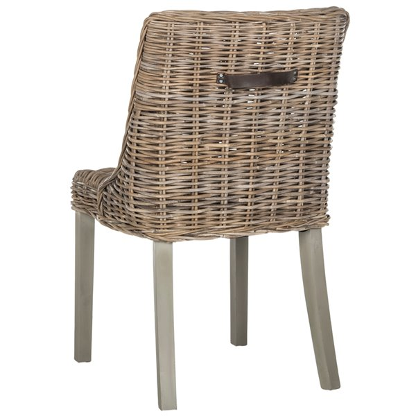Safavieh Caprice 18-in H Wicker Dining Chair With Leather Handle  - Natural Seat and Finish (Set Of 2)