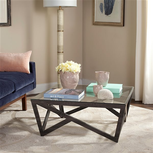 Safavieh Ralston Midcentury Sqaure Glass Top Coffee Table - 33.5-in