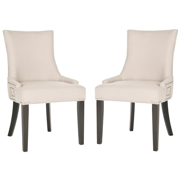 Safavieh Gretchen 20-in H Side Chair  with Silver Nail Heads - Taupe Seat and Rustic Black Finish (Set Of 2)