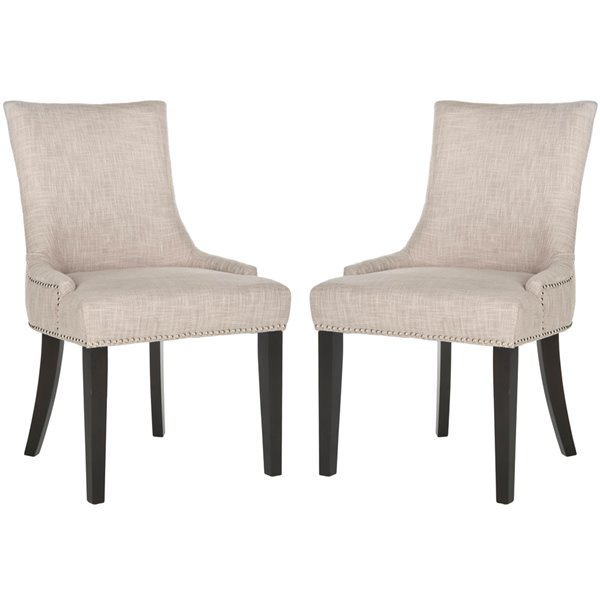 Safavieh Lester 19-in H Dining Chair  with Silver Nail Heads - Grey Seat and Rustic Black Finish (Set Of 2)