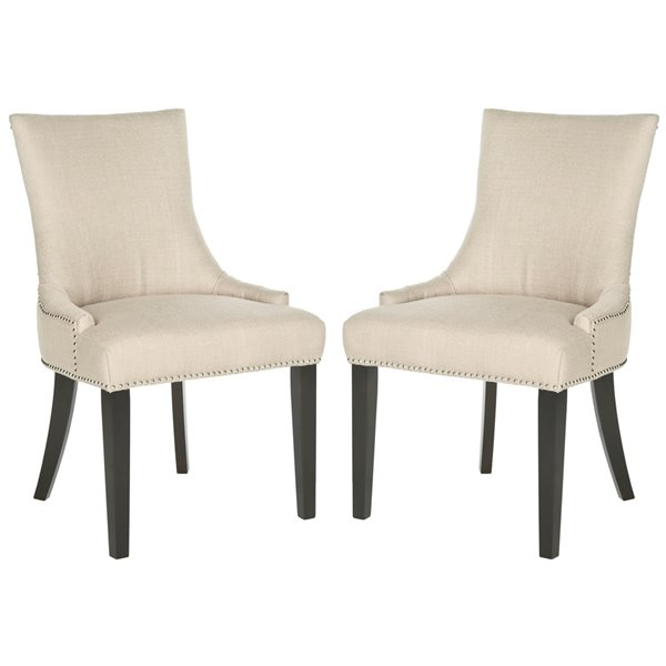 Safavieh Lester 19-in H Dining Chair  with Silver Nail Heads - Antique Gold Seat and Rustic Black Finish (Set Of 2)